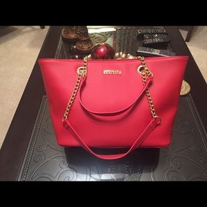 Red Kenneth Cole Reaction Tote Handbag